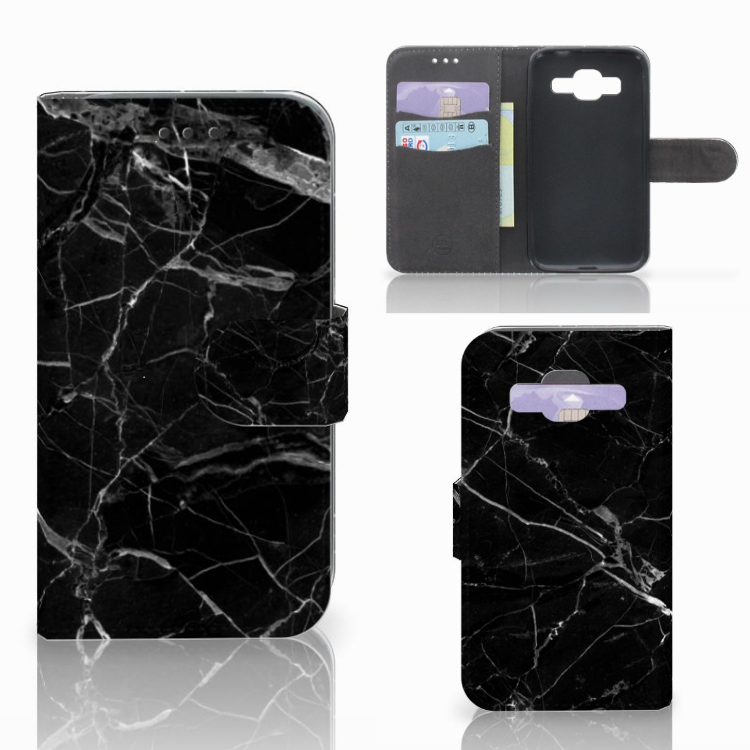 Samsung Galaxy Core Prime Bookcase Marmer Zwart