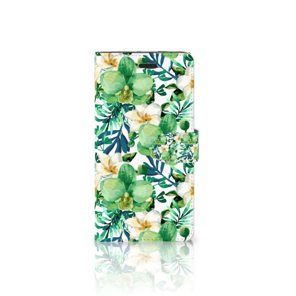 Samsung Galaxy A7 2017 Uniek Boekhoesje Orchidee Groen