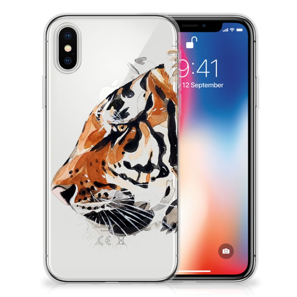 Apple iPhone X | Xs Uniek TPU Hoesje Watercolor Tiger