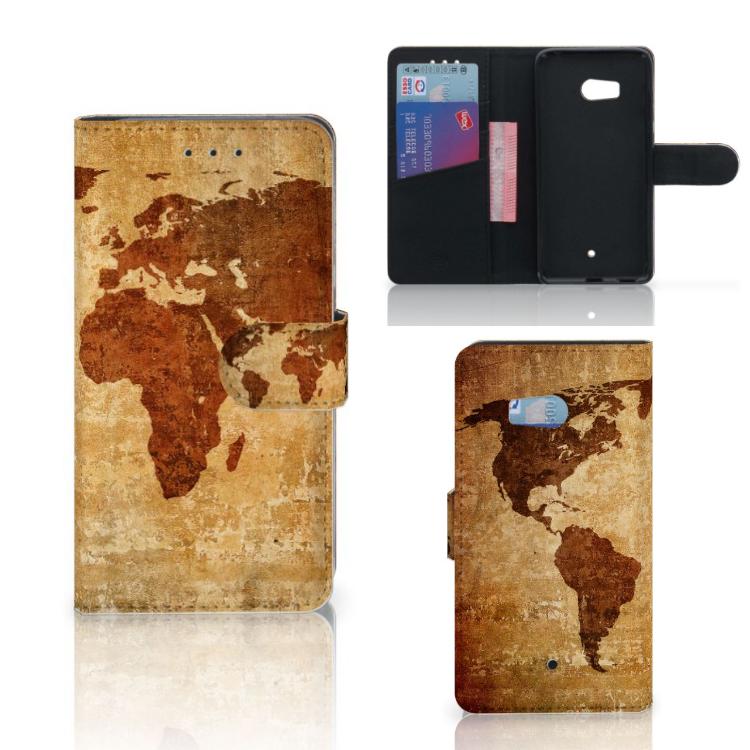 HTC U11 Flip Cover Wereldkaart