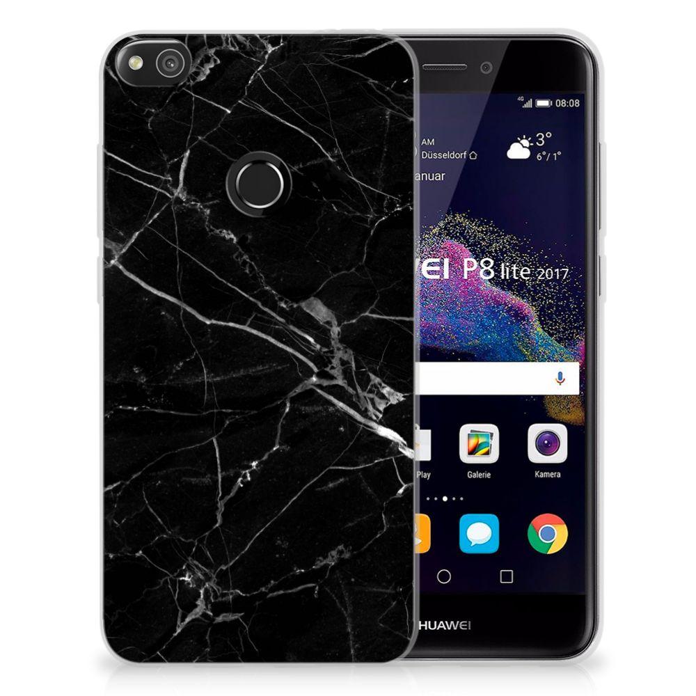 Huawei P8 Lite 2017 TPU Siliconen Hoesje Marmer Zwart