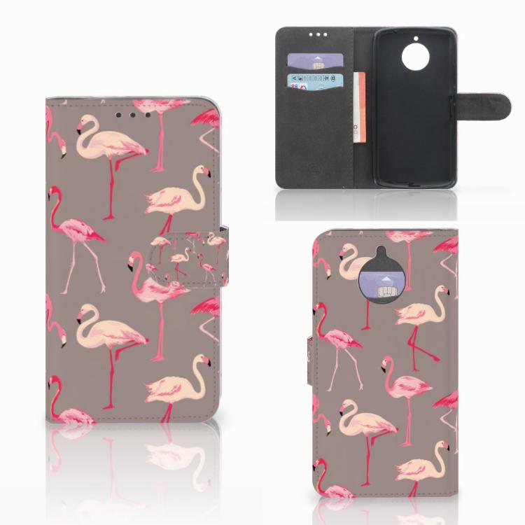 Motorola Moto E4 Plus Telefoonhoesje met Pasjes Flamingo