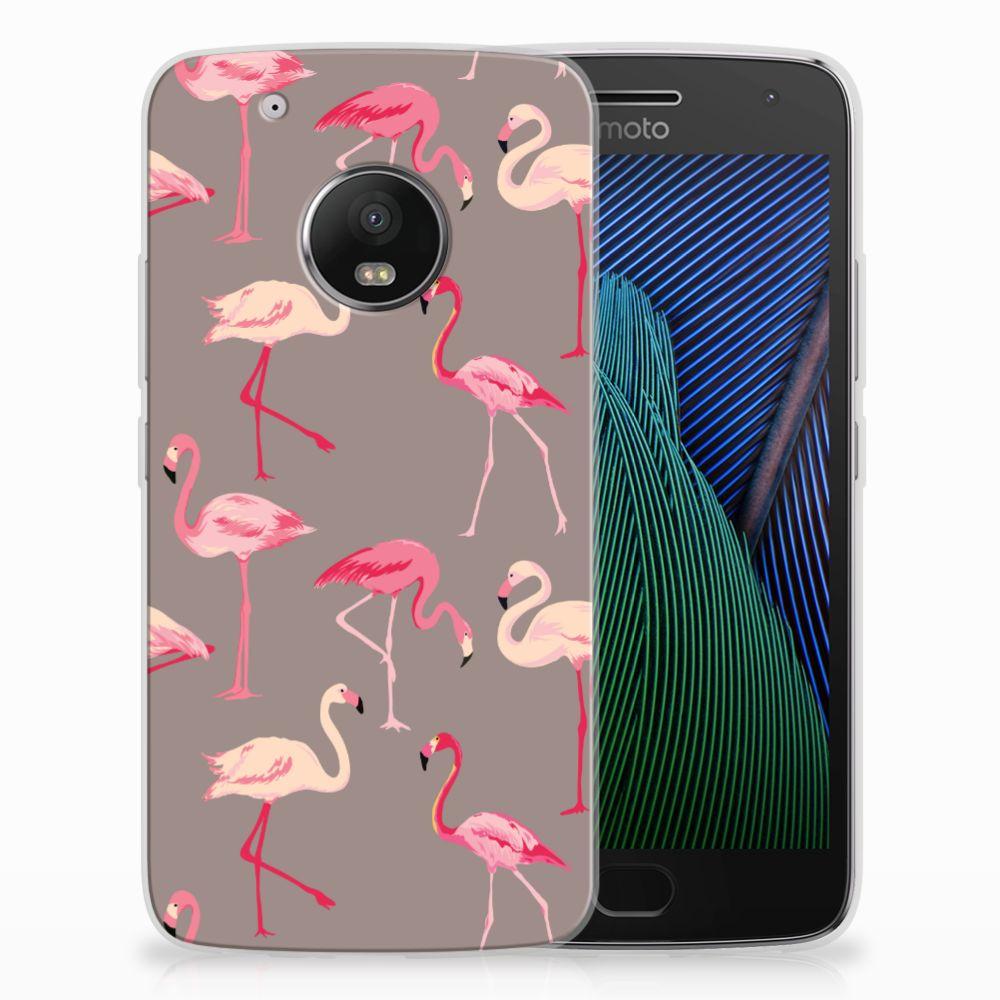Motorola Moto G5 Plus Uniek TPU Hoesje Flamingo