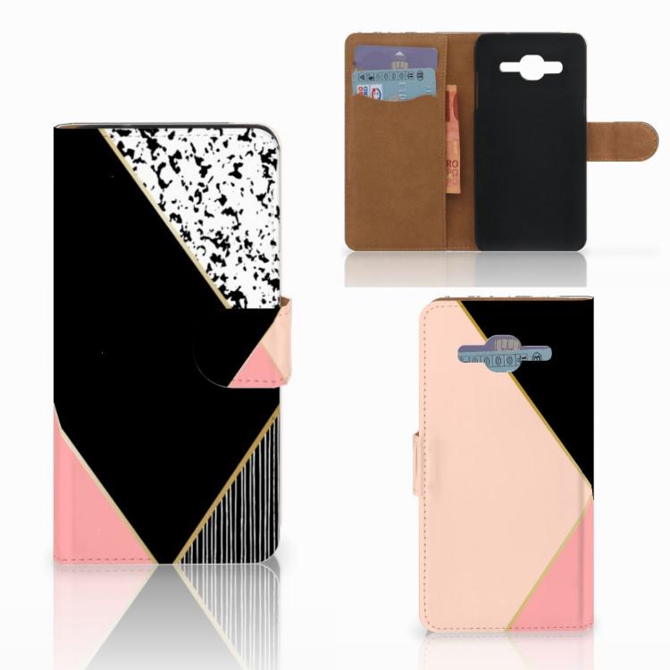 Samsung Galaxy J2 2016 Bookcase Zwart Roze Vormen
