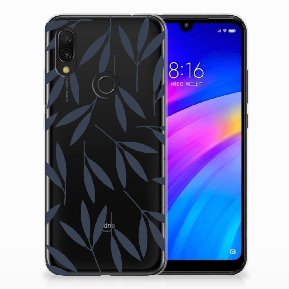 Xiaomi Redmi 7 TPU Hoesje Design Leaves Blue
