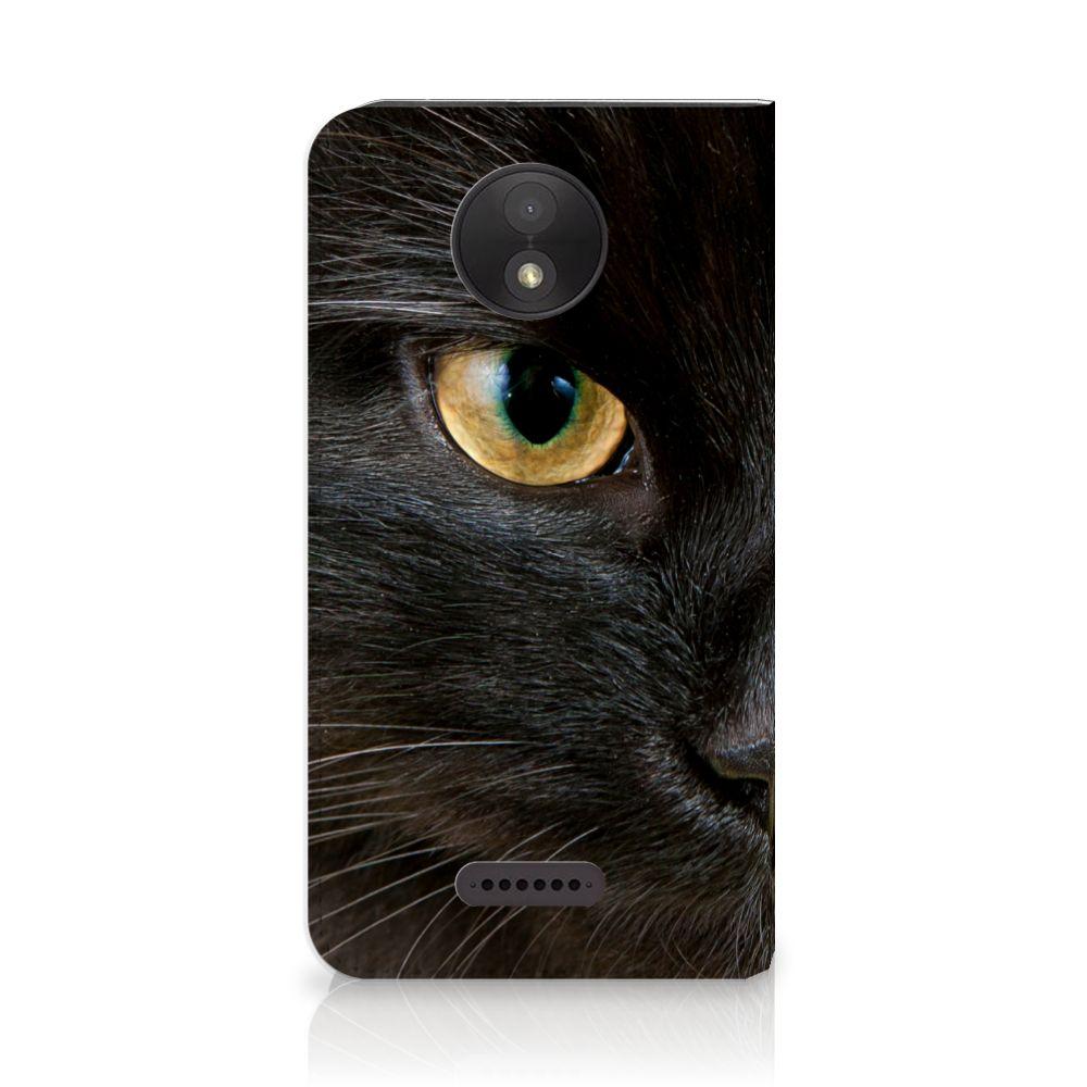 Motorola Moto C Plus Uniek Standcase Hoesje Zwarte Kat