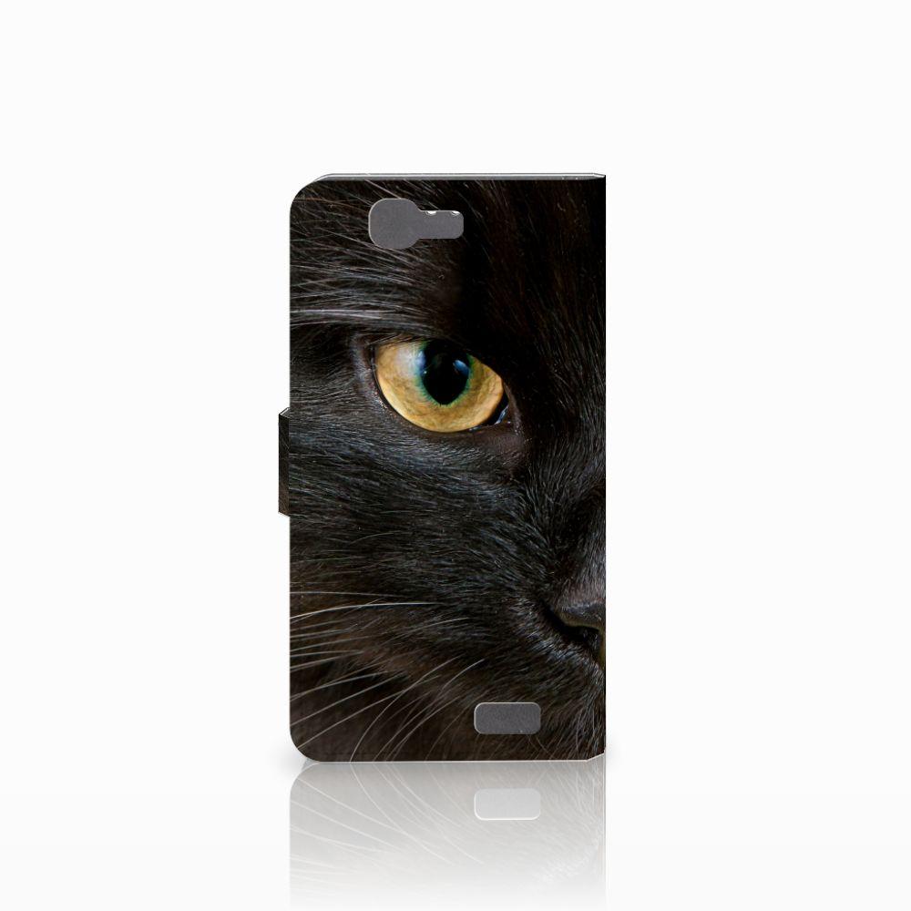Huawei Ascend G7 Telefoonhoesje met Pasjes Zwarte Kat