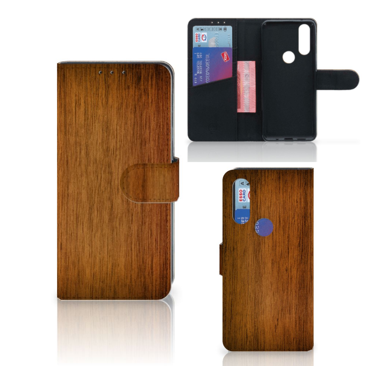 Motorola One Action Book Style Case Donker Hout