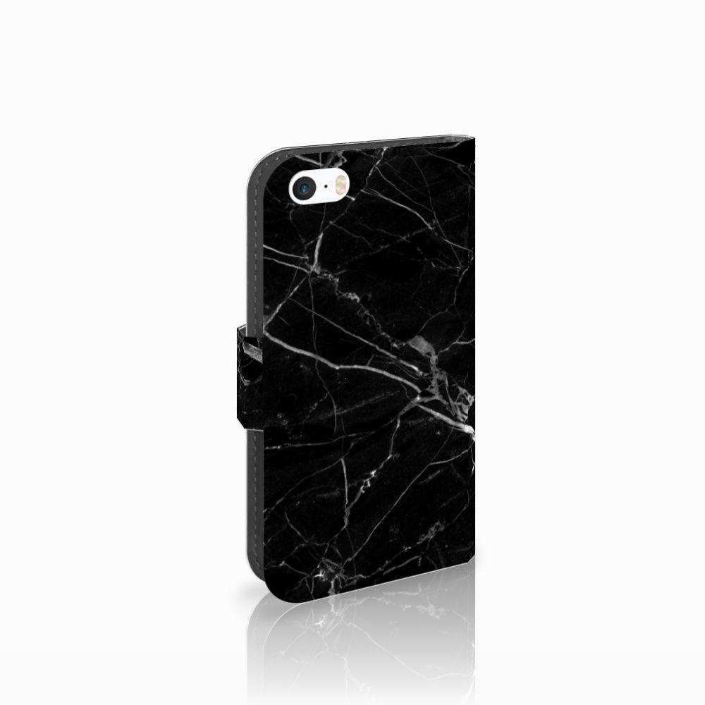 Apple iPhone 5   5s   SE Uniek Boekhoesje Marmer Zwart