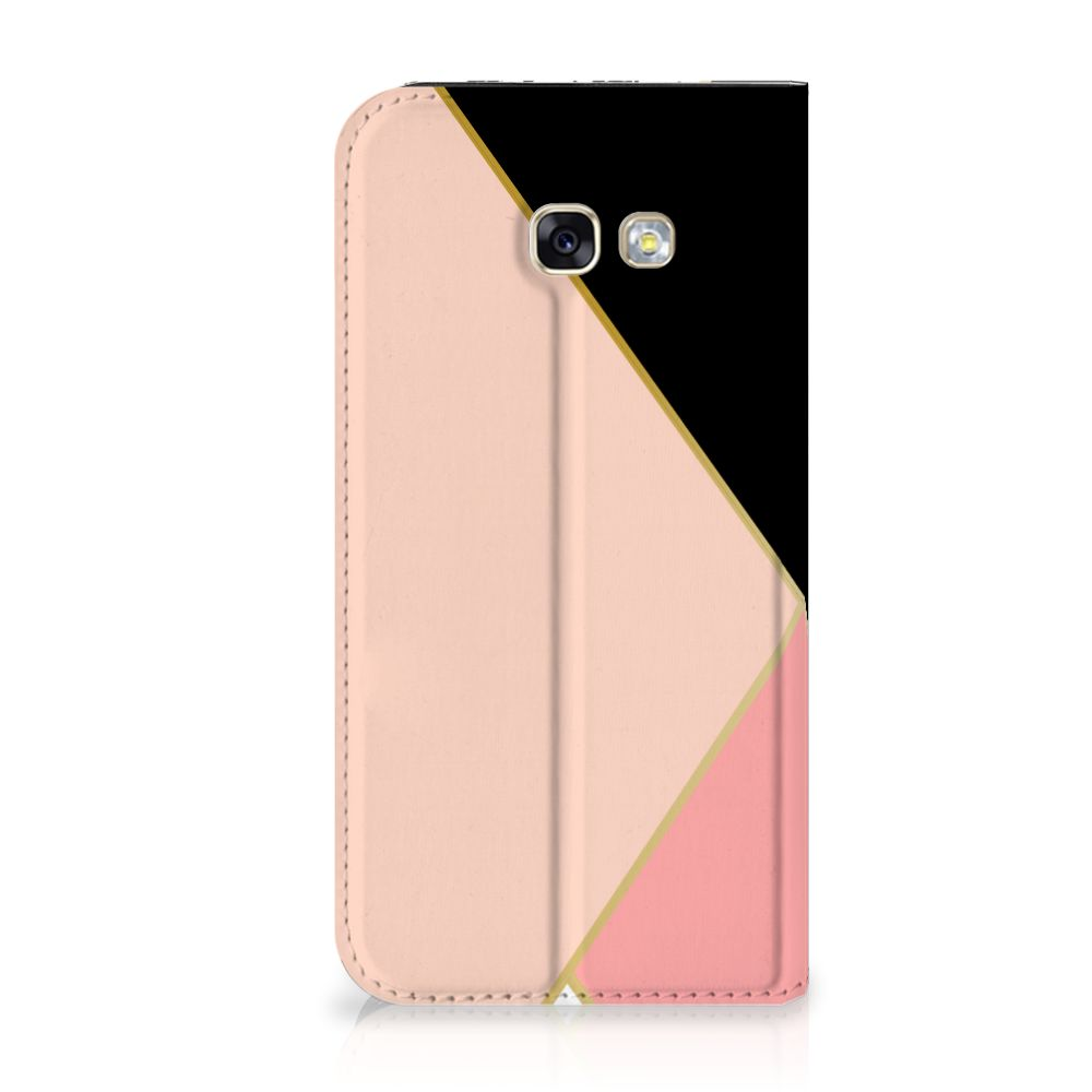 Samsung Galaxy A5 2017 Uniek Standcase Hoesje Black Pink Shapes
