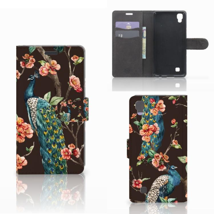 LG X Power Telefoonhoesje met Pasjes Pauw met Bloemen