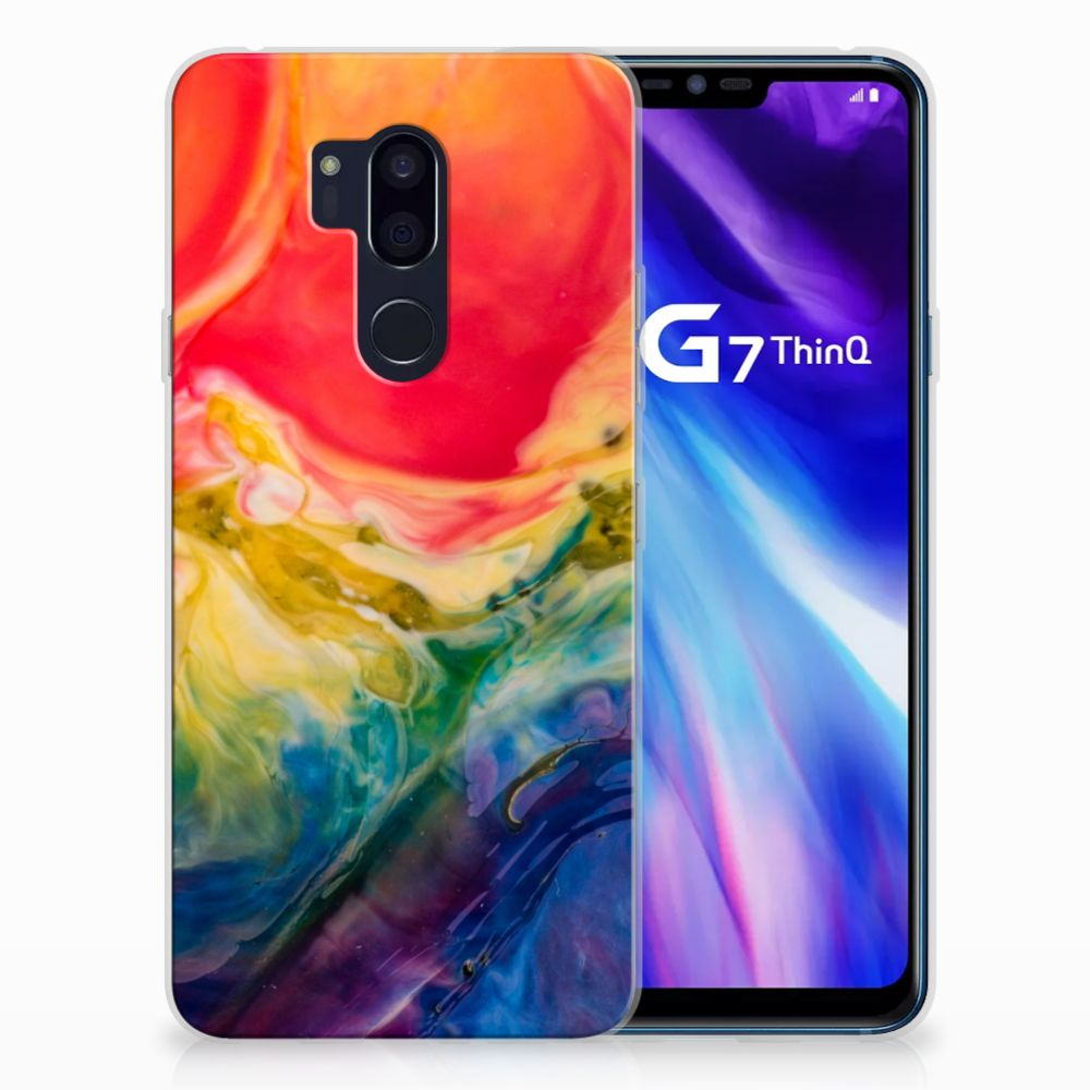 LG G7 Thinq Uniek TPU Hoesje Watercolor Dark
