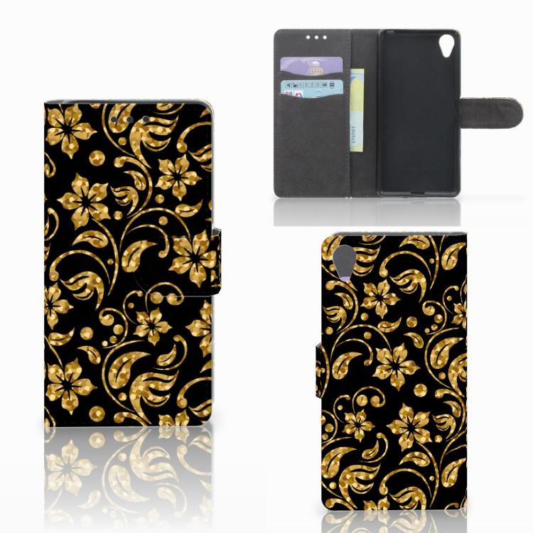 Sony Xperia X Hoesje Gouden Bloemen