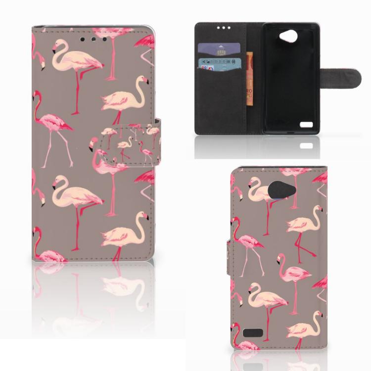 LG Bello 2 Telefoonhoesje met Pasjes Flamingo
