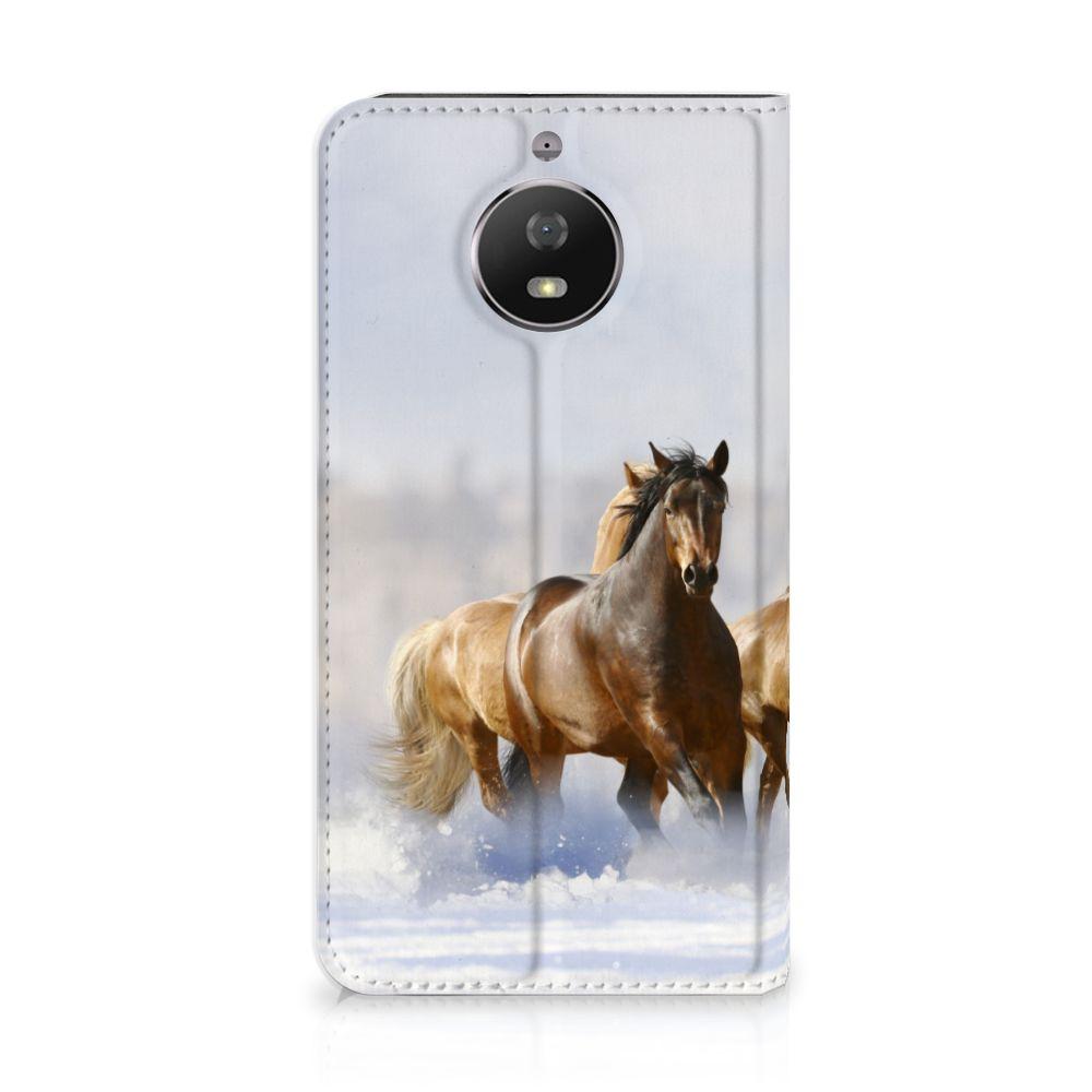 Motorola Moto G5S Uniek Standcase Hoesje Paarden