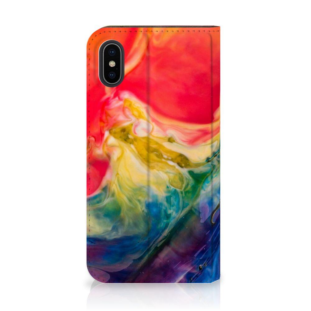 Apple iPhone X | Xs Uniek Standcase Hoesje Watercolor Dark
