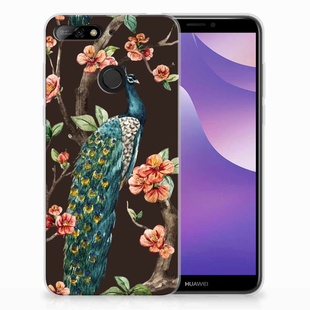 Huawei Y6 (2018) TPU Hoesje Pauw met Bloemen