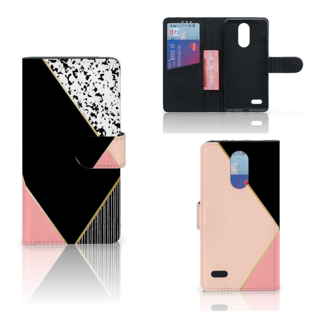 LG K10 (2017) Bookcase Zwart Roze Vormen