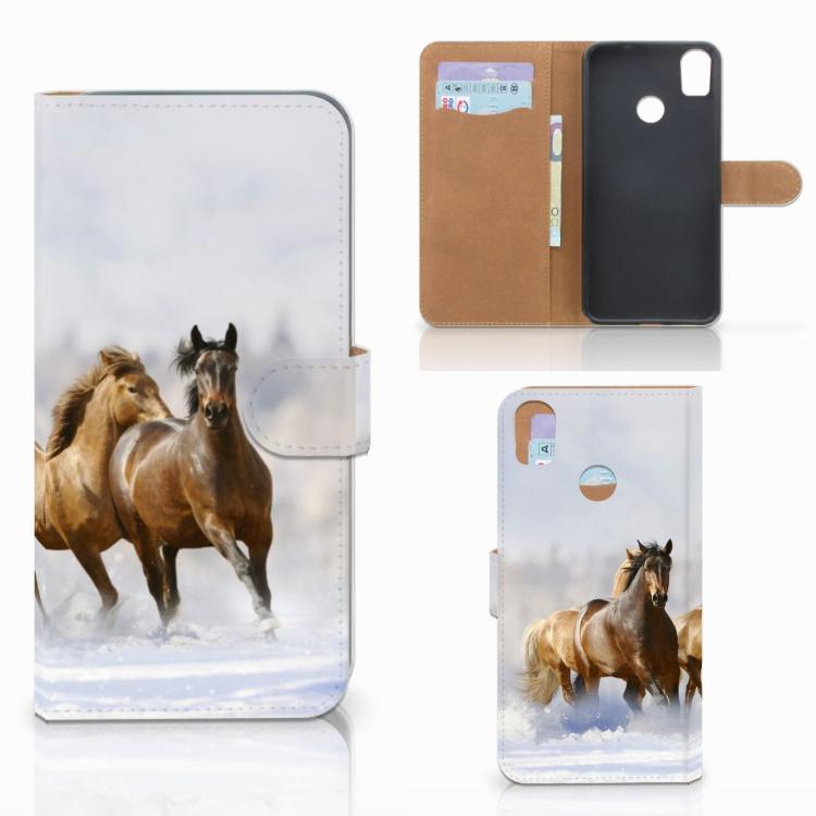 HTC Desire 10 Pro Telefoonhoesje met Pasjes Paarden