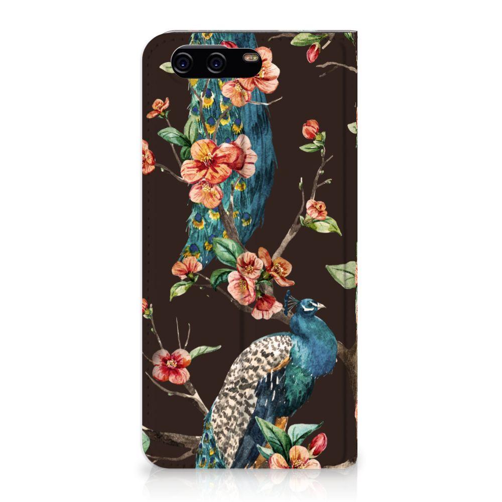 Huawei P10 Standcase Hoesje Design Pauw met Bloemen