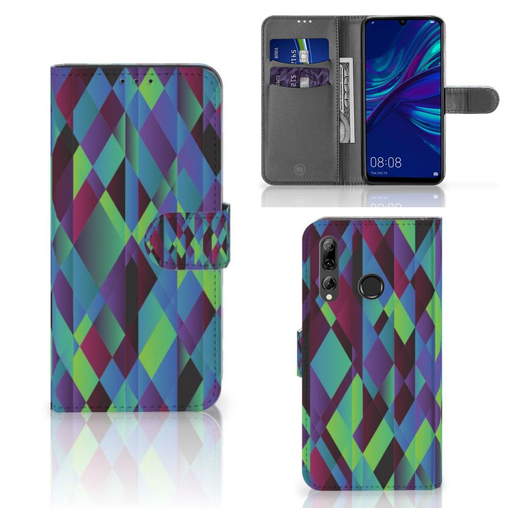 Huawei P Smart 2019 Bookcase Abstract Green Blue