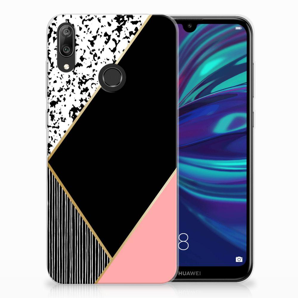 Huawei Y7 2019 TPU Hoesje Zwart Roze Vormen