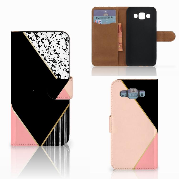 Samsung Galaxy E5 Bookcase Zwart Roze Vormen