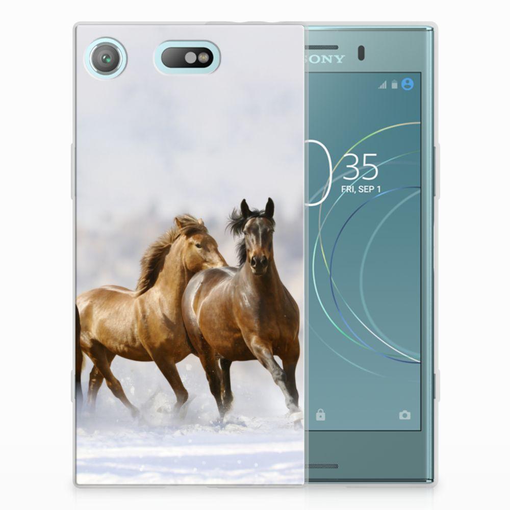 Sony Xperia XZ1 Compact Uniek TPU Hoesje Paarden