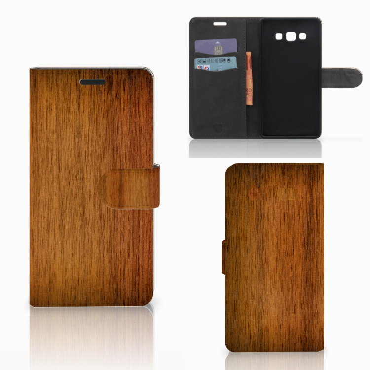Samsung Galaxy A7 2015 Book Style Case Donker Hout