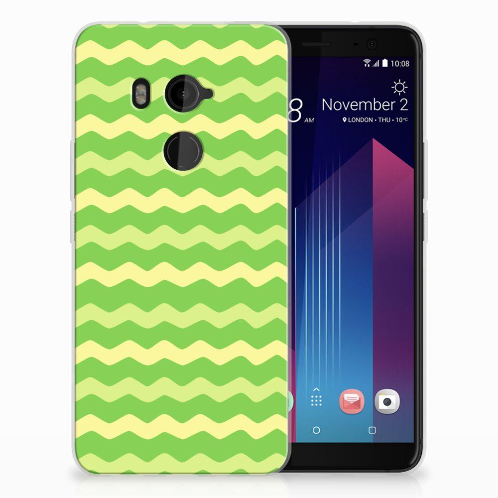HTC U11 Plus TPU Hoesje Design Waves Green