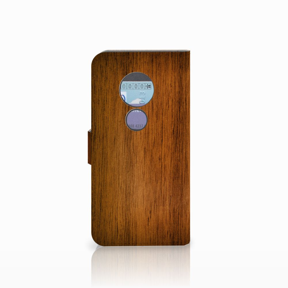 Motorola Moto G6 Play Book Style Case Donker Hout