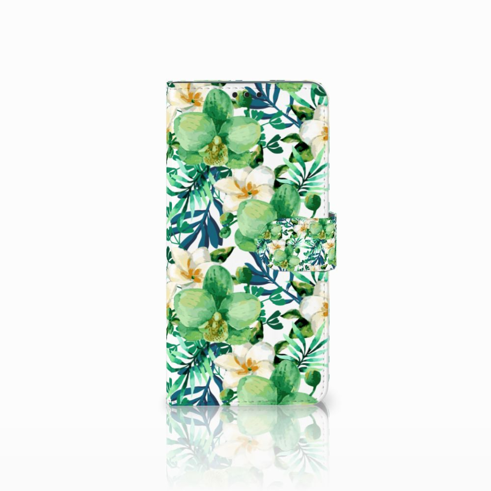 Huawei P Smart Plus Uniek Boekhoesje Orchidee Groen