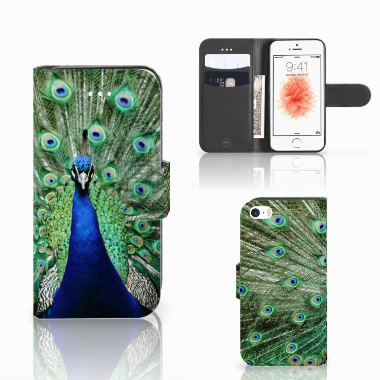 Apple iPhone 5 | 5s | SE Telefoonhoesje met Pasjes Pauw