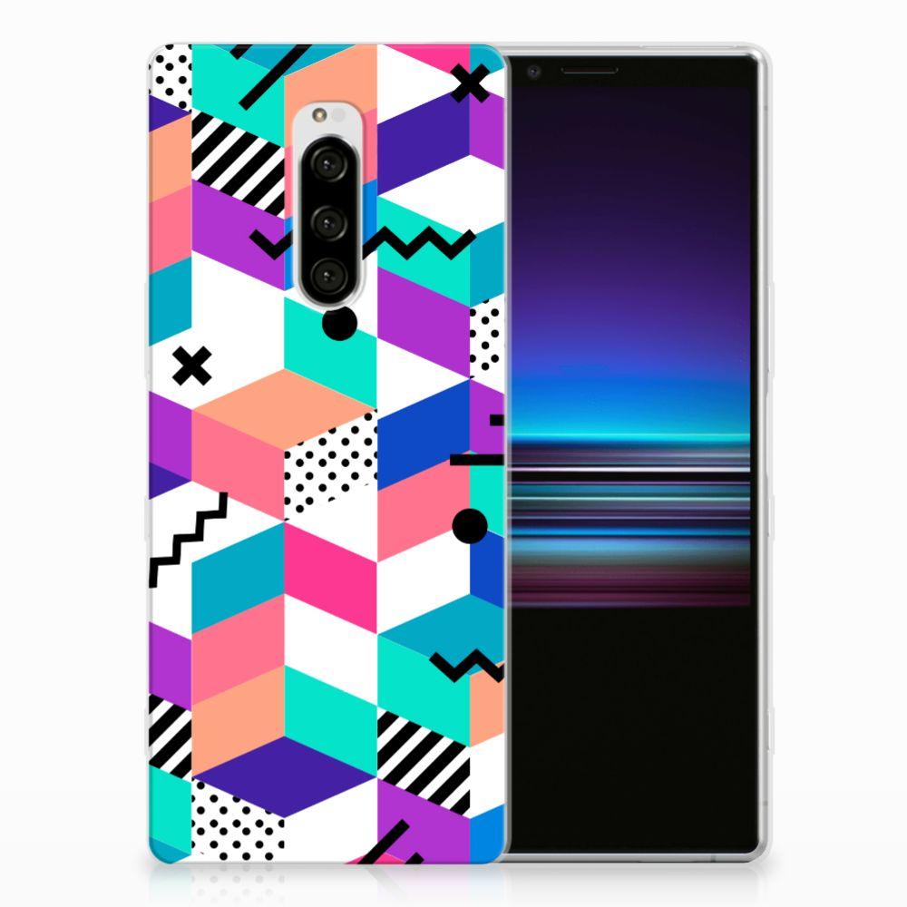 Sony Xperia 1 TPU Hoesje Blokken Kleurrijk