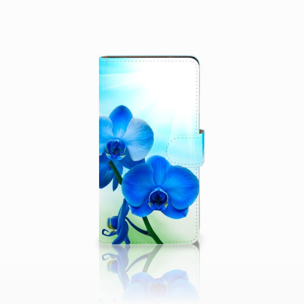 Huawei Ascend G700 Boekhoesje Design Orchidee Blauw