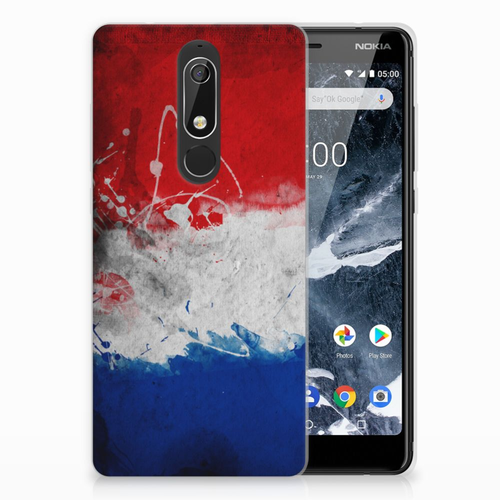 Nokia 5.1 (2018) Uniek TPU Hoesje Nederlandse Vlag