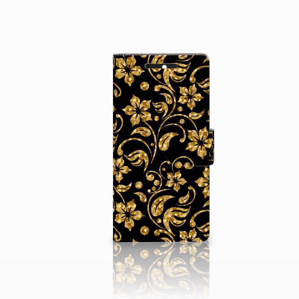 HTC Desire 628 Boekhoesje Design Gouden Bloemen