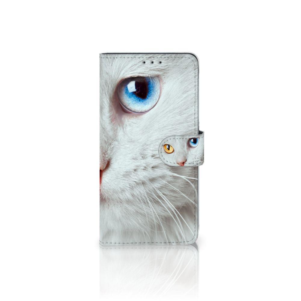 Samsung Galaxy A8 Plus (2018) Uniek Boekhoesje Witte Kat