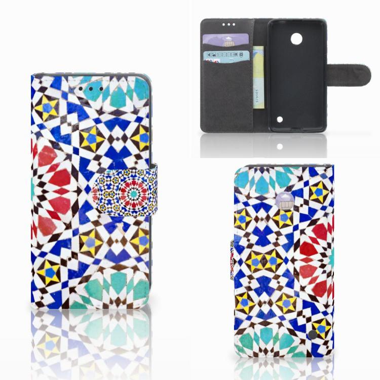 Nokia Lumia 630 Uniek Hoesje met Opbergvakjes Mozaïek