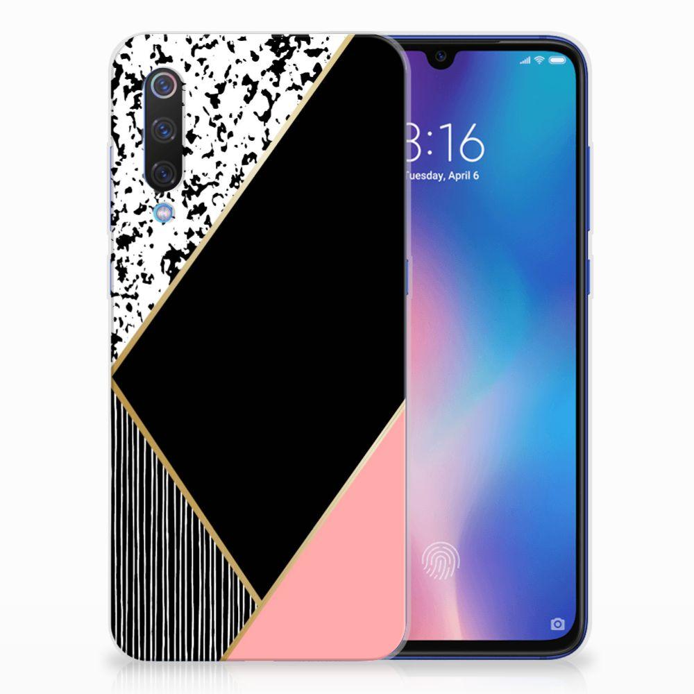 Xiaomi Mi 9 TPU Hoesje Zwart Roze Vormen
