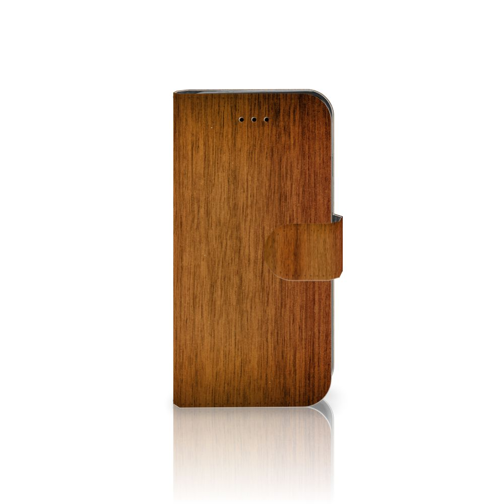iPhone 7   8   SE (2020) Book Style Case Donker Hout