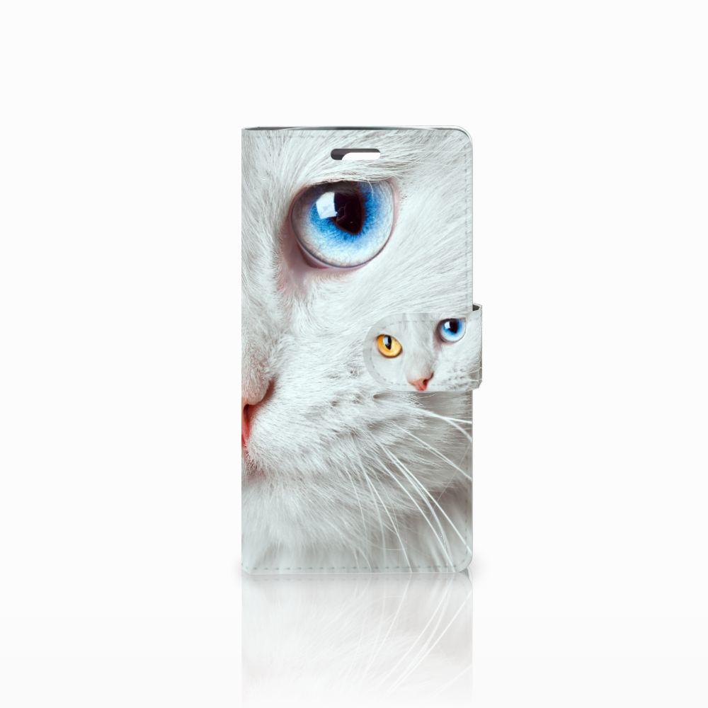 LG K10 2015 Uniek Boekhoesje Witte Kat