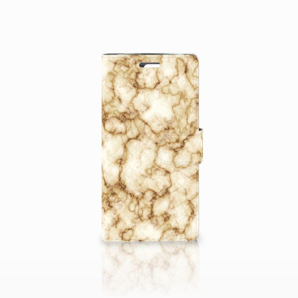 LG K10 2015 Uniek Boekhoesje Marmer Goud