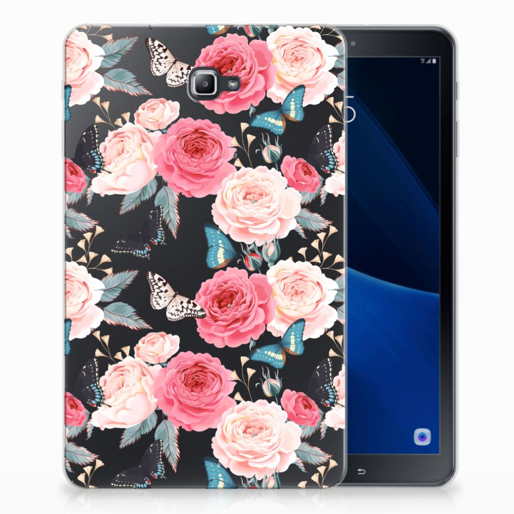 Samsung Galaxy Tab A 10.1 Uniek Tablethoesje Butterfly Roses