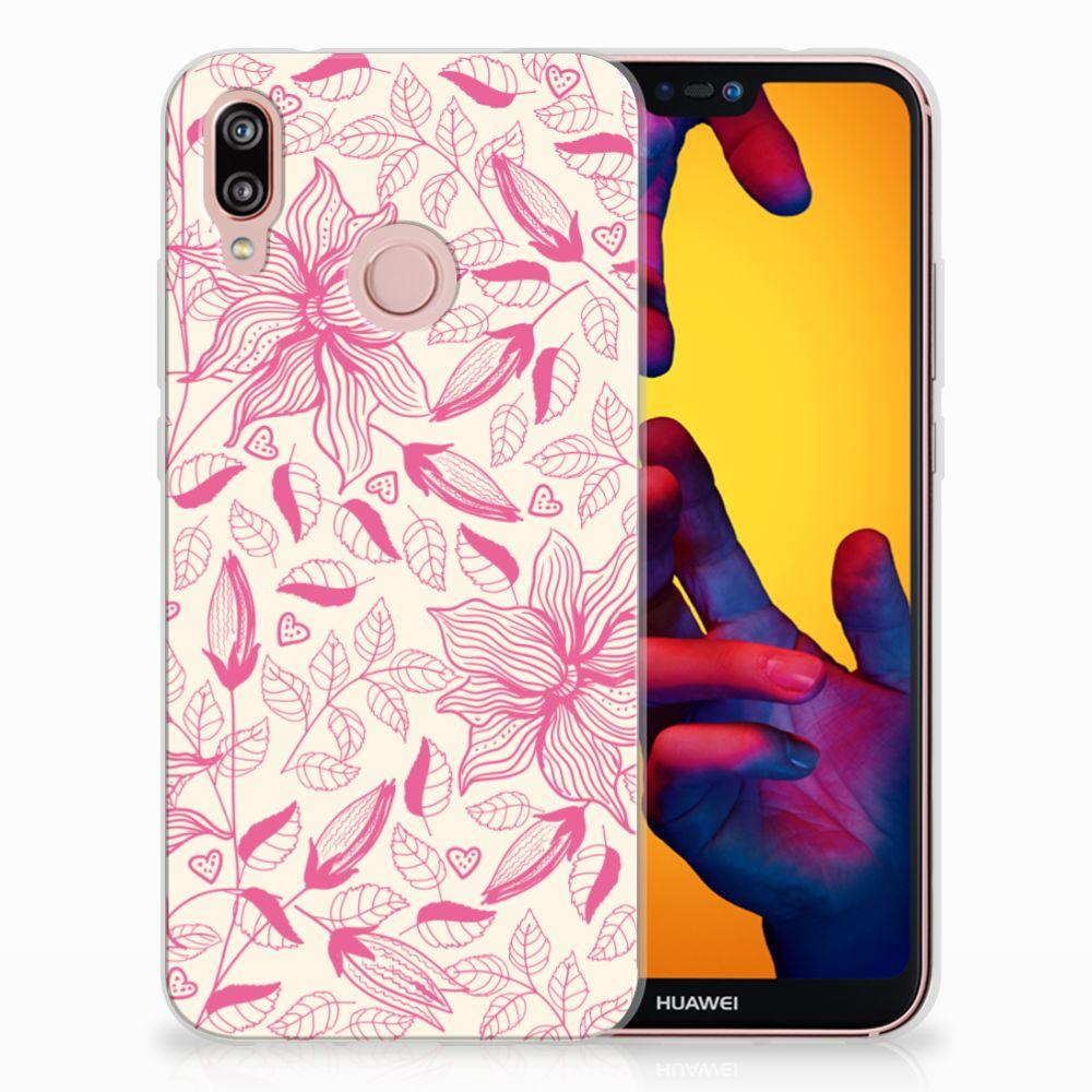 Huawei P20 Lite Uniek TPU Hoesje Pink Flowers
