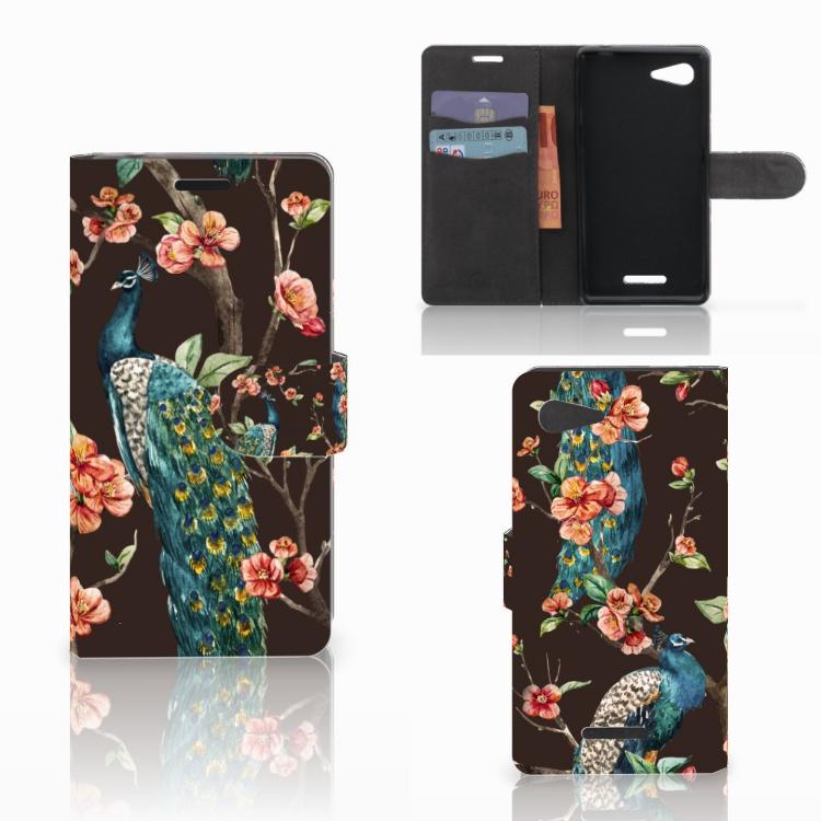 Sony Xperia E3 Telefoonhoesje met Pasjes Pauw met Bloemen
