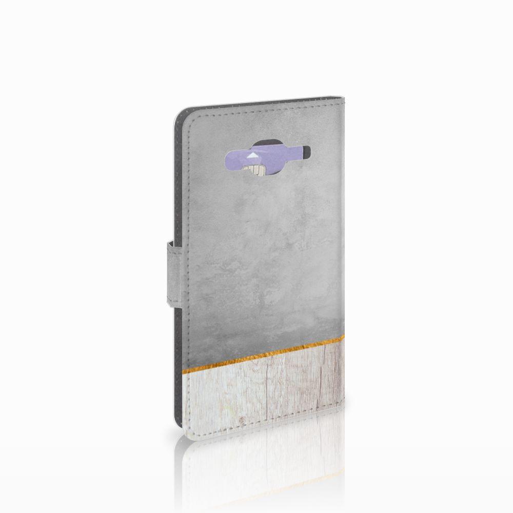Samsung Galaxy J5 (2015) Uniek Boekhoesje Wood Concrete