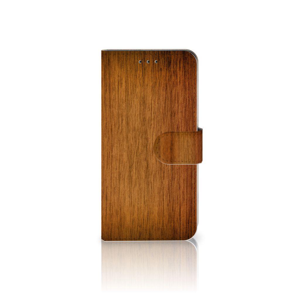 Nokia 7.1 Uniek Boekhoesje Donker Hout