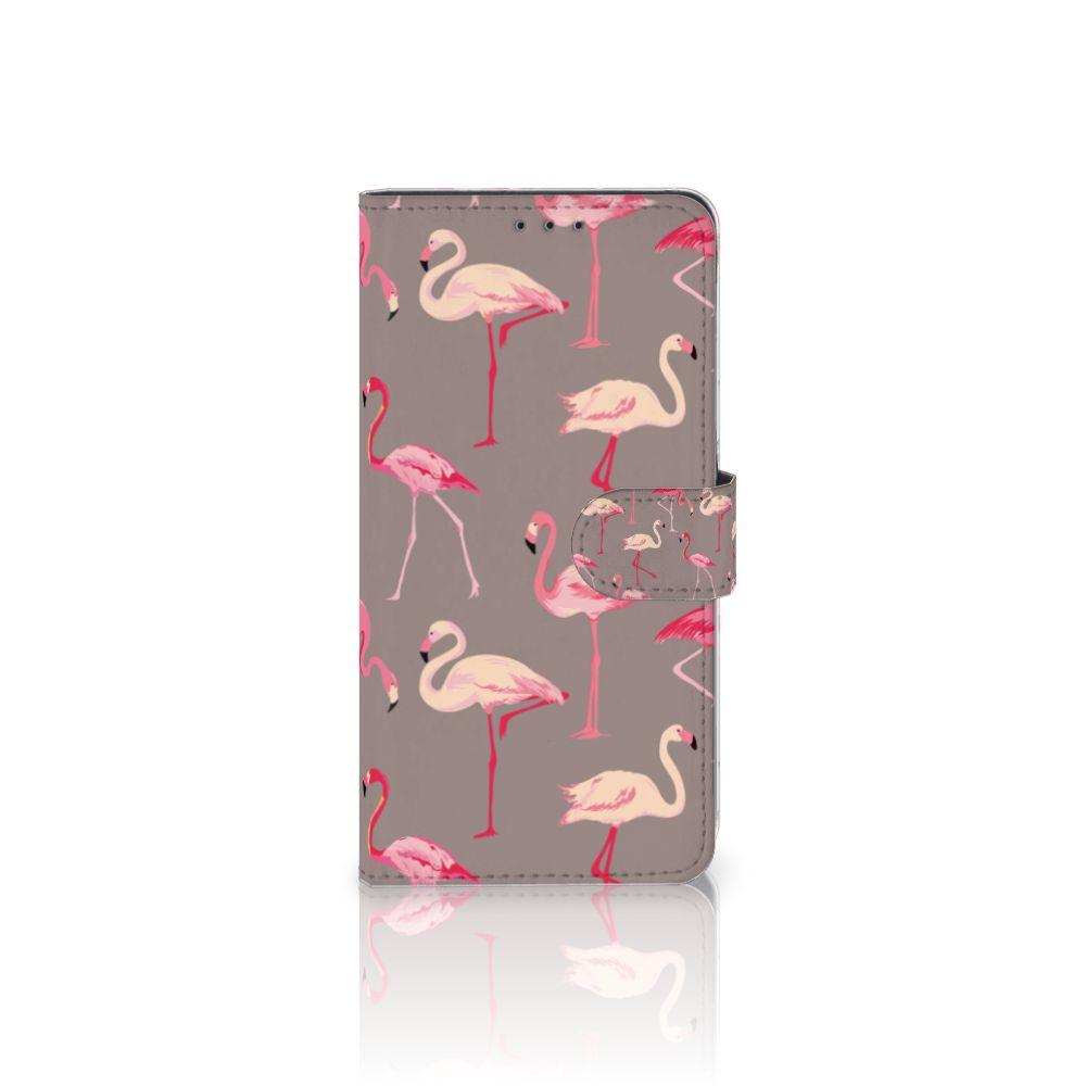 Samsung Galaxy A8 Plus (2018) Uniek Boekhoesje Flamingo