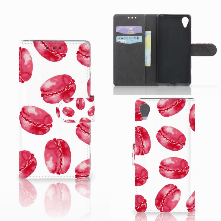 Sony Xperia X Performance Book Cover Pink Macarons